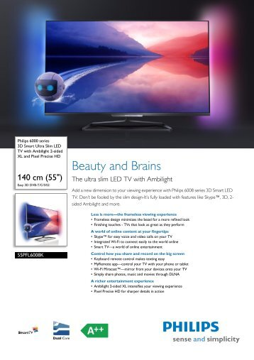 55PFL6008K/12 Philips 3D Smart Ultra Slim LED TV with Ambilight ...