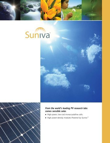 From the world's leading PV research labs comes sensible ... - Suniva