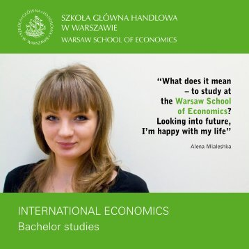 INTERNATIONAL ECONOMICS Bachelor studies