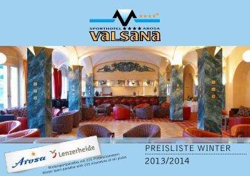 Preise Winter 2013-2014 - Sporthotel Valsana