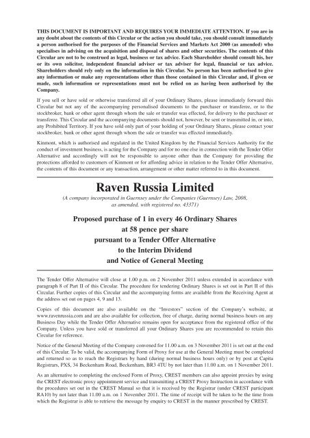 Tender Offer Circular - Raven Russia Limited