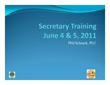 Phil Schrack, PCC - District 24-A Lions