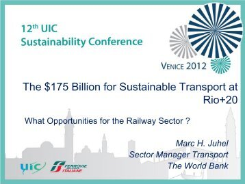 Titre de la présentation - The 12th UIC Sustainability Conference