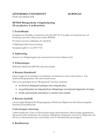 Kursplanen - Göteborgs universitet