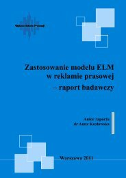 Zastosowanie modelu ELM w reklamie prasowej – raport badawczy