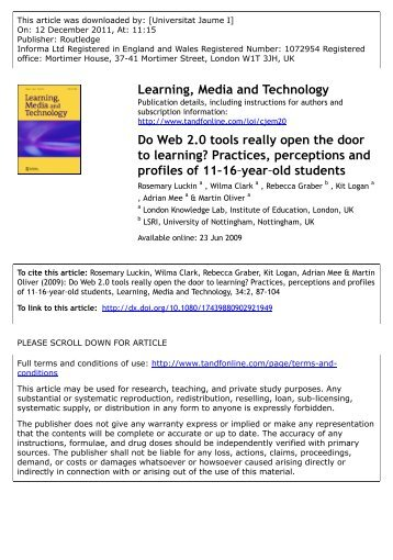 Do Web 2.0 tools really open the door to learning? Practices ... - L@TE