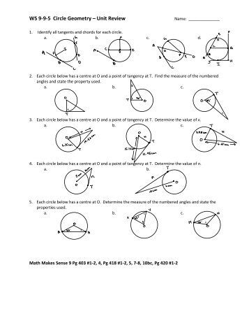 Review For Grade 9 Math Exam Unit 8 Circle Geometry