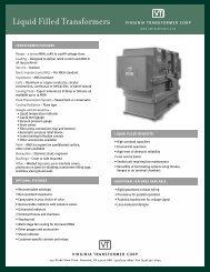 Spec Sheet - Virginia Transformer Corp