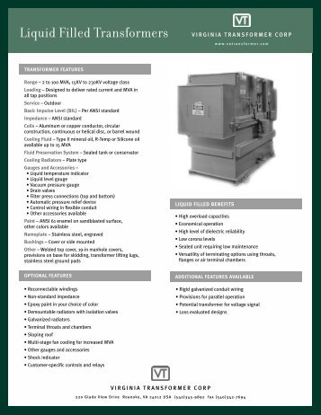 Spec Sheet - Virginia Transformer Corp