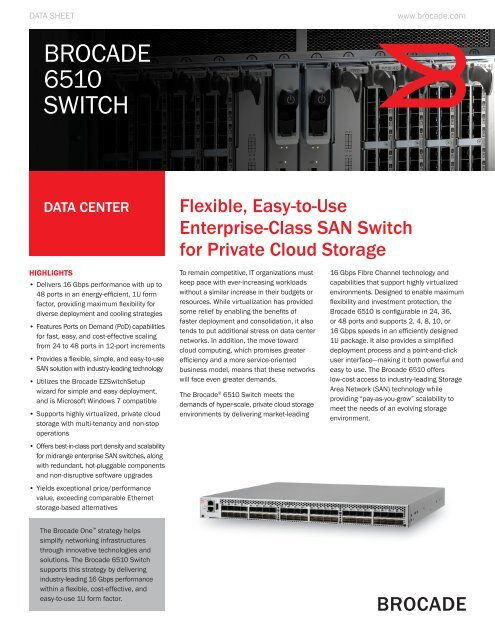 Brocade 6510 Switch - Datasheet - Hitachi Data Systems