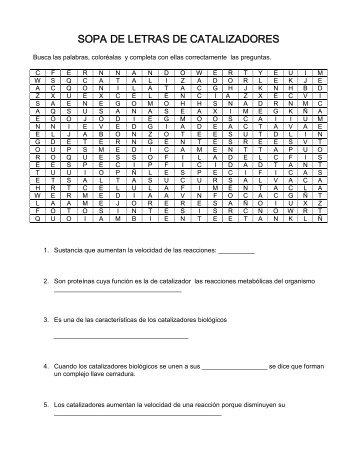 SOPA DE LETRAS DE CATALIZADORES