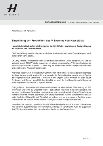 Einstellung der Produktion des V Systems von Hasselblad - Press ...