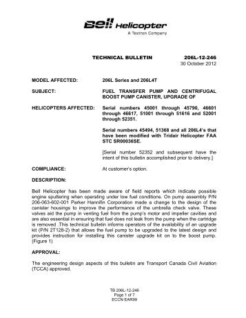 TECHNICAL BULLETIN 206L-12-246 30 October 2012 MODEL ...
