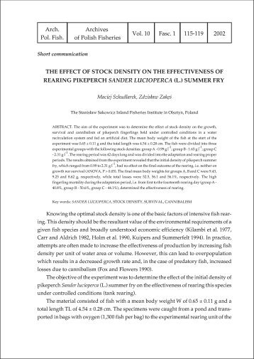 THE EFFECT OF STOCK DENSITY ON THE EFFECTIVENESS OF ...