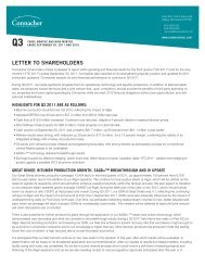 LETTER TO SHAREHOLDERS - Connacher Oil and Gas