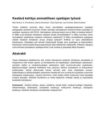 Artikkeli Kestävä kehitys ammatillisen opettajan työssä - Oamk