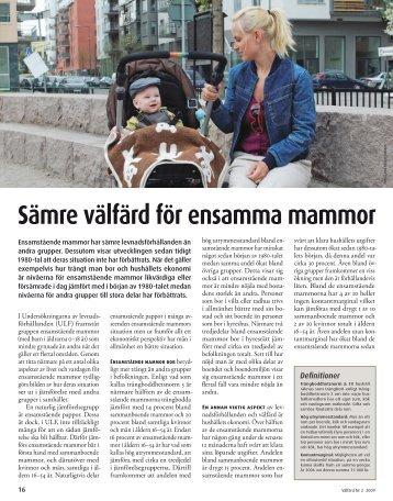 Sämre välfärd för ensamma mammor (pdf)