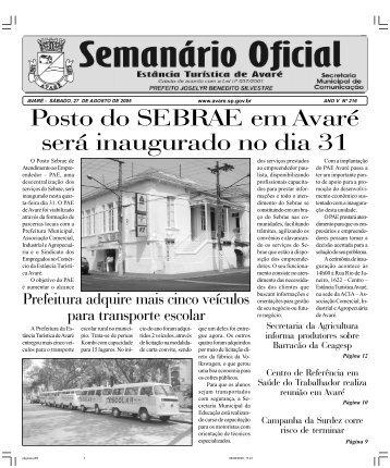 Posto do SEBRAE em Avaré será inaugurado no dia 31 - Câmara ...
