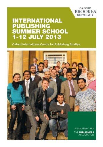 Summer School Flyer (PDF) - Oxford International Centre for ...