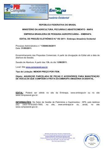 PREGÃO 052011 - PEÇAS E ACESSÓRIOS PARA ... - Embrapa