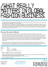 FASHION ACADEMY IN BERLIN - Fashion Patrons