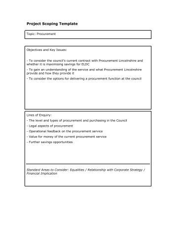 Template for scope document for Procurement document template