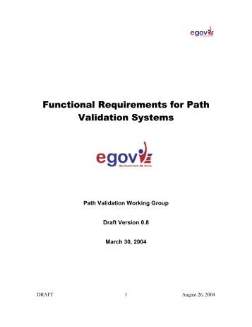 Functional Requirements for Path Validation Systems