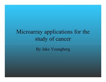Microarray applications for the study of cancer