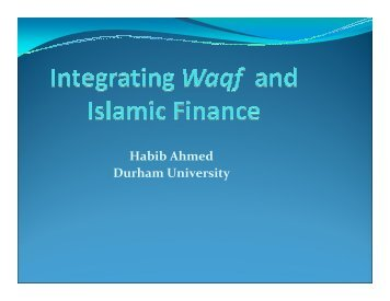 Integrating Waqf and Financial Sector by Habib Ahmed