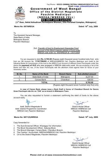 bank advice letter of apo nrega paschim medinipur
