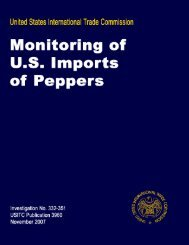 Monitoring of U.S. Imports of Peppers 2007 - USITC