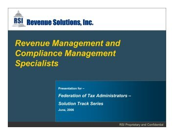 Revenue Solutions, Inc. - Federation of Tax Administrators