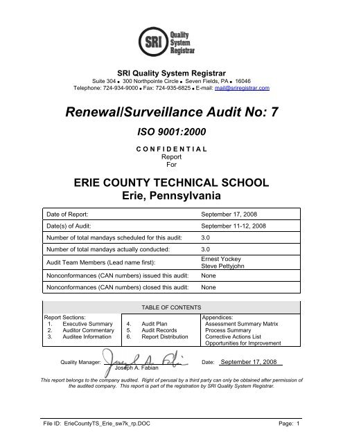 Renewal/Surveillance Audit No: 7 ISO 9001:2000 - Ects org