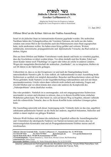 Offener Brief der Jüdischen Liberale Gemeinde Köln - Allerweltshaus