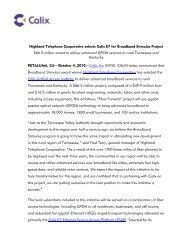 Highland Telephone Cooperative selects Calix E7 for Broadband ...