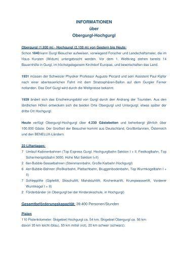 INFORMATIONEN über Obergurgl-Hochgurgl