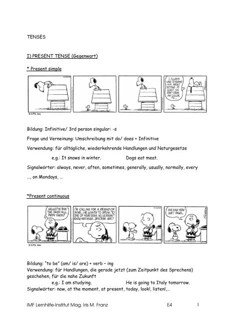 signalwörter simple past