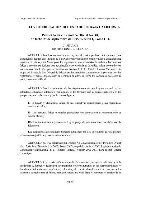 Ley De Educacion Del Estado De Baja California