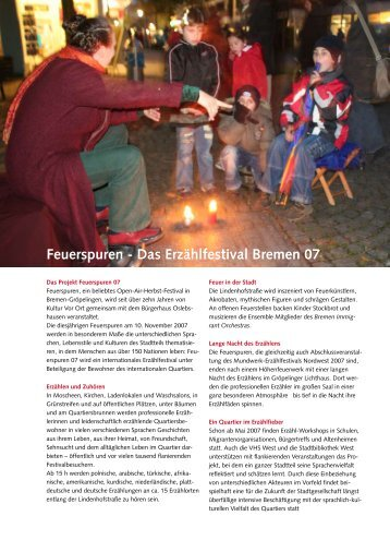 Feuerspuren - Das Erzählfestival Bremen 07 - Kultur Vor Ort e.V.