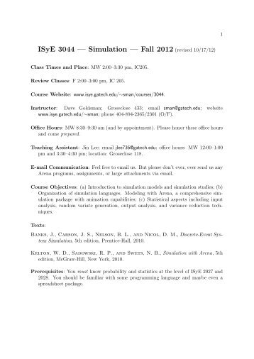 ISyE 3044 — Simulation — Fall 2012 (revised 10/17/12)