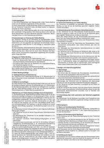 Bedingungen für das Telefon-Banking - Frankfurter Sparkasse