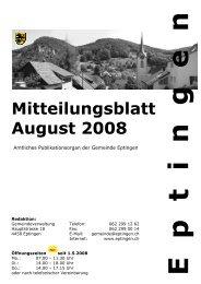 Mitteilungsblatt für den Monat August - Eptingen