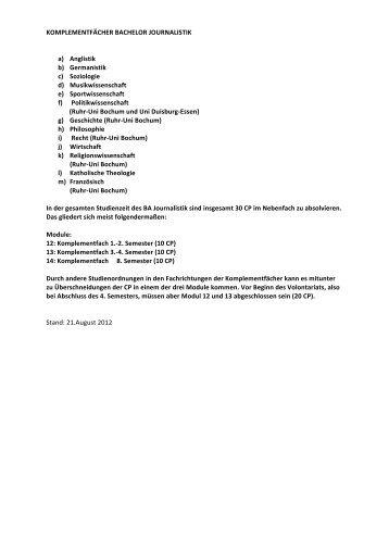 Modulhandbuch Komlementfächer - Institut für Journalistik