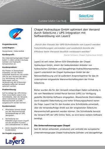 Chapel Hydraulique GmbH optimiert den Versand ... - Layer 2 GmbH