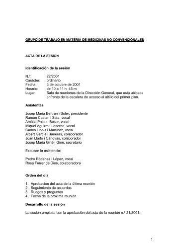 Grupo de trabajo en materia de medicinas no convencionales. Acta 22
