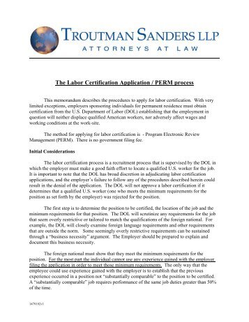 Labor Certification for Teaching Faculty