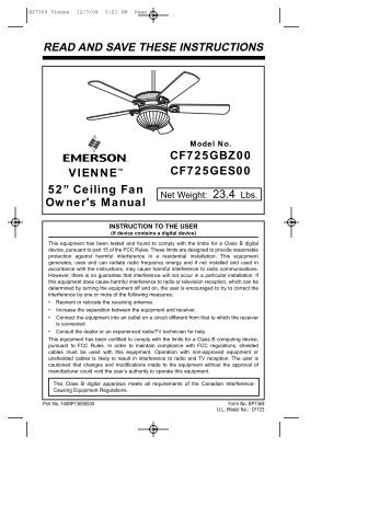Recessed fan light read and save these instructions home read and save these instructions emerson fans sciox Gallery