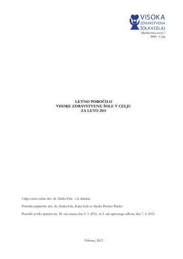 Letno poročilo VZSCE za leto 2011 - Visoka zdravstvena šola v Celju