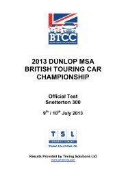 2013 dunlop msa british touring car championship - TSL Timing
