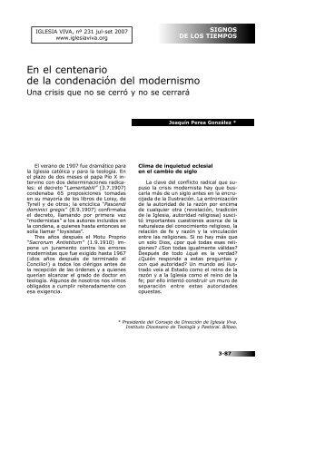 En el centenario de la condenación del modernismo - Iglesia Viva